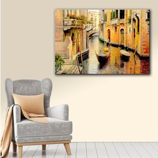 ArtWall 'Haixia Liu's Golden Evening Gondola' Gallery Wrapped Canvas