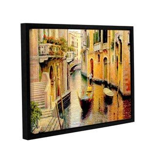 ArtWall 'Haixia Liu's Golden Evening Gondola' Gallery Wrapped Floater-framed Canvas