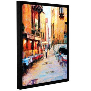 ArtWall 'Haixia Liu's Street Caf After Rain' Gallery Wrapped Floater-framed Canvas
