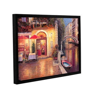 ArtWall 'Haixia Liu's Night Caf After Rain' Gallery Wrapped Floater-framed Canvas