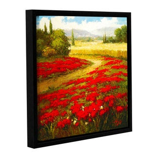 ArtWall 'Hulsey's Red Poppy Trail' Gallery Wrapped Floater-framed Canvas