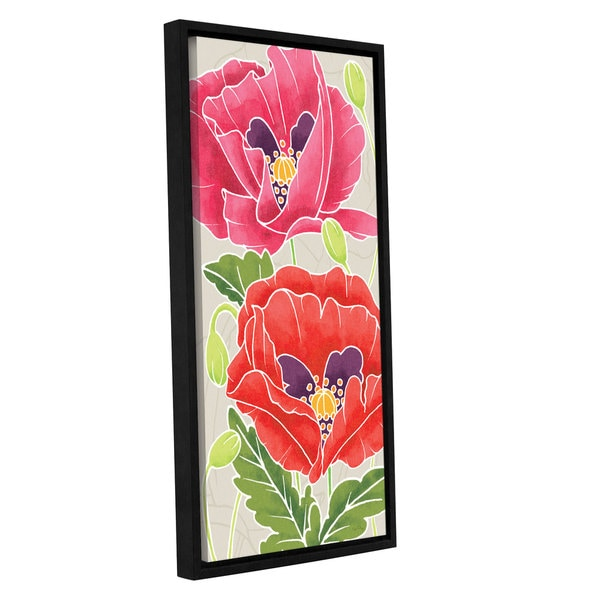 ArtWall 'Elyse DeNeige's Sunshine Poppies II' Gallery Wrapped Floater-framed Canvas - Multi