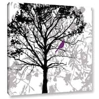 ArtWall 'Pied Piper's Silhouetted Tree With Plum Bird' Gallery Wrapped Canvas