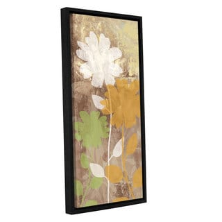 ArtWall 'Pied Piper's Green Orange Flower Time' Gallery Wrapped Floater-framed Canvas