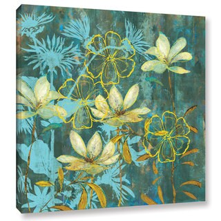 ArtWall 'Pied Piper's Run Teal And Yellow Flowers' Gallery Wrapped Canvas
