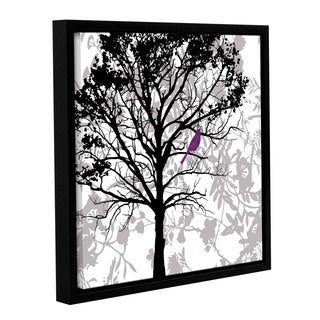 ArtWall 'Pied Piper's Silhouetted Tree With Plum Bird' Gallery Wrapped Floater-framed Canvas