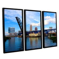 ArtWall 'Cody York's Cleveland 12' 3 Piece Floater Framed Canvas Set - Multi