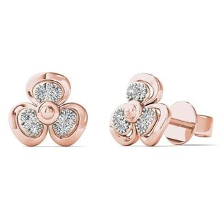 AALILLY 10k Rose Gold Diamond Accent Fashion Stud Earrings