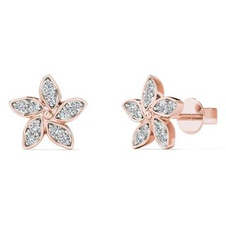 AALILLY 10k Rose Gold Diamond Accent Flower Stud Earrings
