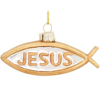 Gold Jesus Fish Glass Hanging Christmas Tree Ornament