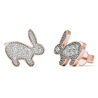 AALILLY 10k Rose Gold Diamond Accent Rabbit Stud Earrings