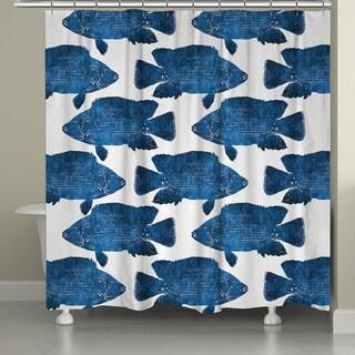 Laural Home School of Indigo Fish 71 x 72-inch Shower Curtain