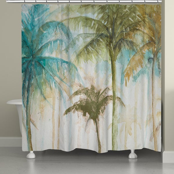 Shop Laural Home Watercolor Palm Trees Shower Curtain