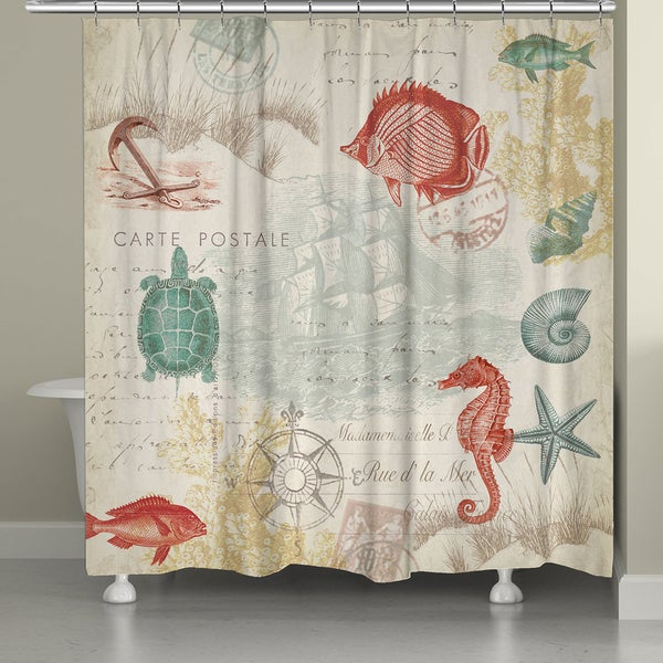 Laural Home Coral Maritime Shower Curtain - Free Shipping Today ...