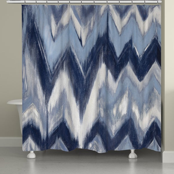 Laural Home Blue Chevron Shower Curtain