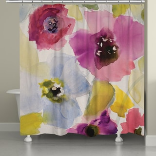 Laural Home Watercolor Florals Shower Curtain
