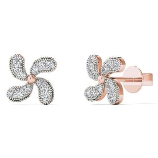 10k Rose Gold Diamond Accent Fashion Stud Earrings (H-I, I1-I2)