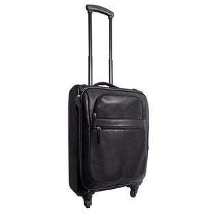 Canyon Outback Business Casual Leather 22-inch Spinner Carry-On Upright Suitcase