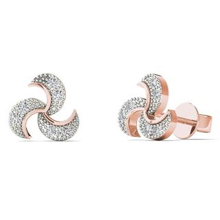 10k Rose Gold Diamond Accent Fashion Spiral Stud Earrings