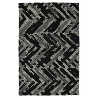 Hand-Tufted Mi Casa Black Zig-Zag Rug (2' x 3')