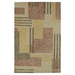 Hand-Tufted Mi Casa Camel Geo Rug (3'6 x 5'6)