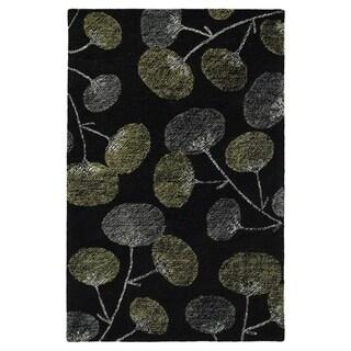 "Hand-Tufted Mi Casa Black Floral Rug (5' x 7'9"")"