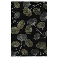 "Hand-Tufted Mi Casa Black Floral Rug - 5' x 7'9"""