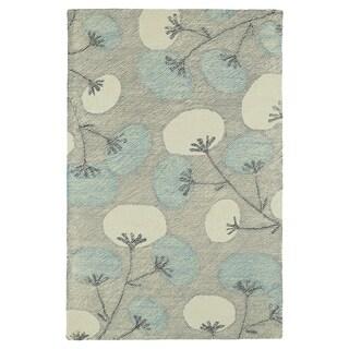 "Hand-Tufted Mi Casa Grey Floral Rug (3'6"" x 5'6"")"