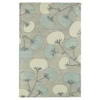 "Hand-Tufted Mi Casa Grey Floral Rug - 3'6"" x 5'6"""