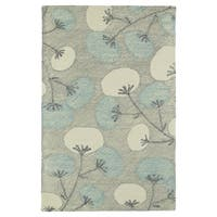 "Hand-Tufted Mi Casa Grey Floral Rug - 5' x 7'9"""