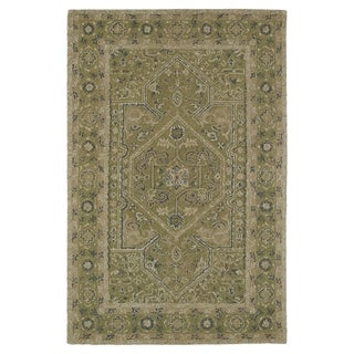 Hand-Tufted Mi Casa Green Heriz Rug (3'6 x 5'6)