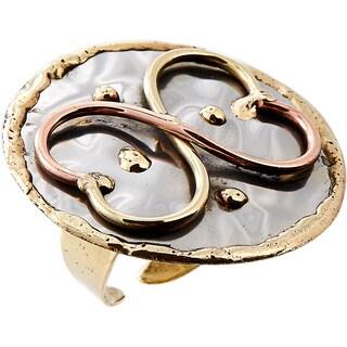 Handmade Mixed Metal Tri-color Infinity Hearts Fashion Ring (India) - Silver