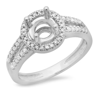 14k White Gold 1/3ct TDW Diamond Split Shank Bridal Semi Mount Engagement Ring (H-I, I1-I2)