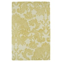 Hand-Tufted Mi Casa Gold Damask Rug - 5' x 7'9""