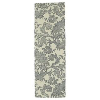 Hand-Tufted Mi Casa Grey Damask Rug (2'6 x 8')
