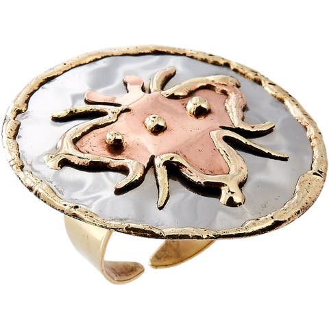 Handmade Mixed Metal Tri - color Bee Design Fashion Ring (India) - Multi Size - 8.5