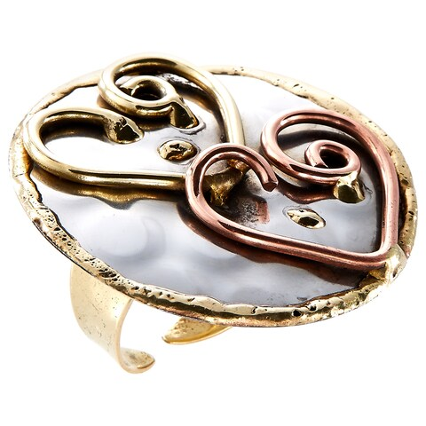 Handmade Mixed Metal Tri-color Double Hearts Fashion Ring (India)