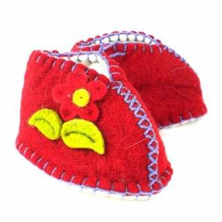 Handcrafted Felt Red Zooties Baby Booties (Kyrgyzstan)