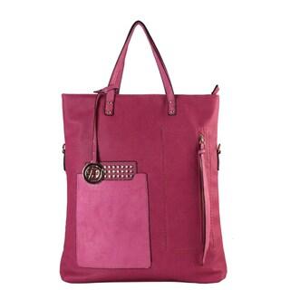 Diophy Front Pocket Studded Divided Compartments Tote Handbag