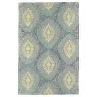 Hand-Tufted Mi Casa Blue Damask Rug - 9' x 12'