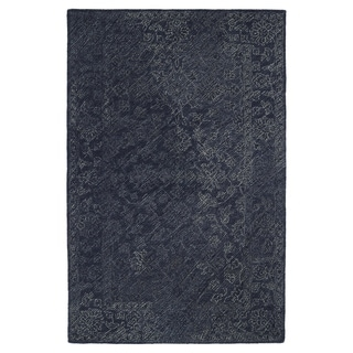 Hand-Tufted Mi Casa Blue Distressed Traditional Rug (2' x 3')