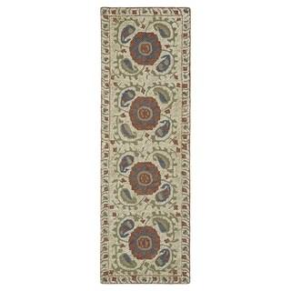Hand-Tufted Mi Casa Camel Suzani Rug (2'6 x 8')