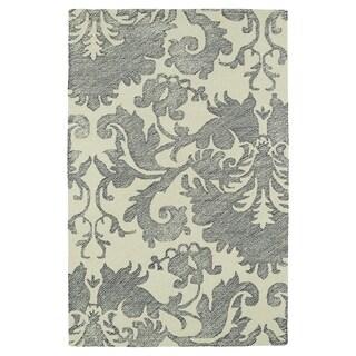 Hand-Tufted Mi Casa Grey Damask Rug (2' x 3')