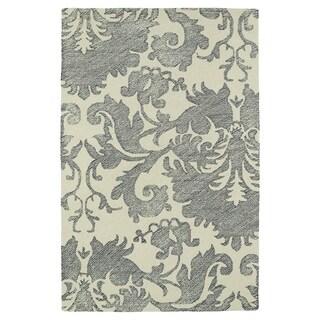 Hand-Tufted Mi Casa Grey Damask Rug (3'6 x 5'6)