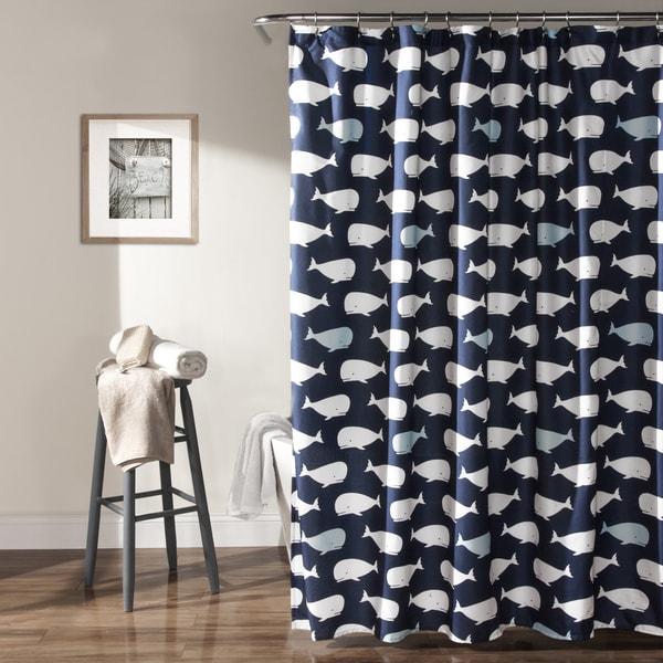 Lush Decor Navy Whale Shower Curtain