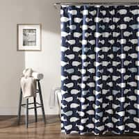 Havenside Home Hollywood Navy Whale Shower Curtain