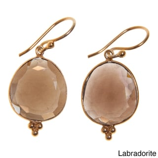14k Goldplated Sterling Silver Gemstone Artisan Made Earrings (India)