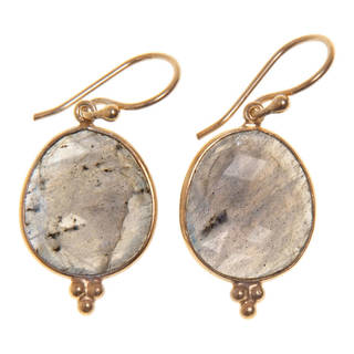 Handmade Goldoverlay Sterling Silver Gemstone Artisan Made Earrings (India)