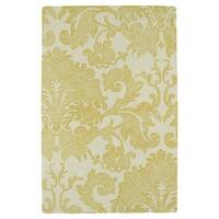 Hand-Tufted Mi Casa Gold Damask Rug (3'6 x 5'6) - 3'6 x 5'6