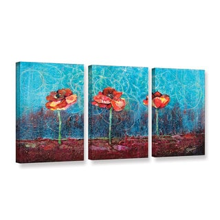 ArtWall 'Shadia Zayed's Three Poppies' 3 Piece Gallery Wrapped Canvas Set
